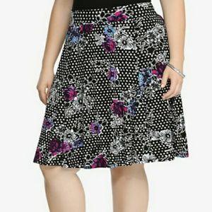 Torrid Floral Dotted Skater Skirt SZ 1X 14/16